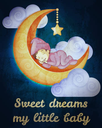 baby illustration: Little girl sleeping on the moon card