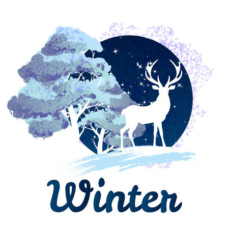 winter tree: Frosty winter concept deer in front of tree covered with snow Illustration