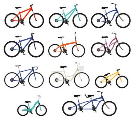 Vlakke stijl fietsen van differnt types ingesteld Stock Illustratie