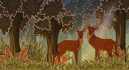 animales del bosque: Dos ciervos en el bosque de estilo de dibujos animados ilustración vectorial