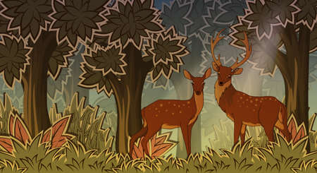 stylish couple: Two deers in forest cartoon style vector illustration Illustration