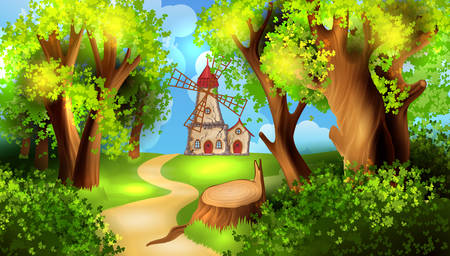 forest road: Forest road with windmill on background