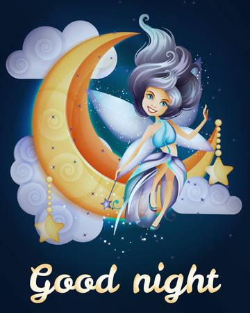 fairy: Fairy siiting on the moon