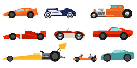 old cars: Flat style race cars set
