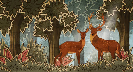 Two deers in forest cartoon style vector illustration Çizim