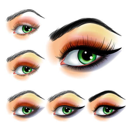 Eye shadow make up step by step Illustration