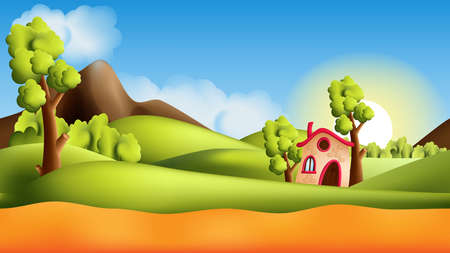 Parallax landscape cartoon seamless repeating background with additional elements
