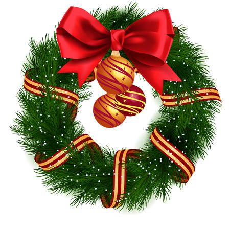 red ribbon bow: Christmas Wreath isolated
