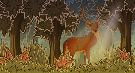 panoramic nature: Deer in forest cartoon style vector illustration