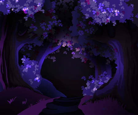dark: Mystical dark forest vector illustration