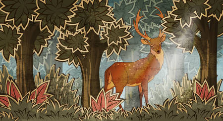 horny: Deer in forest cartoon style vector illustration