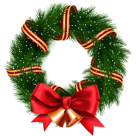 green bow: Christmas Wreath isolated