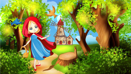 little red riding hood: Red Riding Hood on the forest path Illustration
