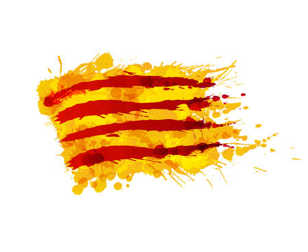 Flag of  Catalonia made of colorful splashes 版權商用圖片 - 48213701