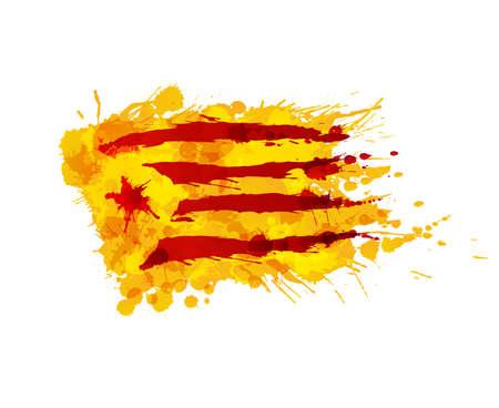 Catalonia Estrelada flag made of colorful splashes Ilustração