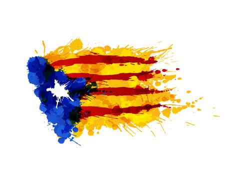 Catalonia Blue Estrelada flag made of colorful splashes