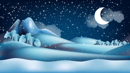 scroller: Parallax winter landscape cartoon seamless repeating background