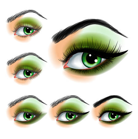 green brown: Eye shadow make up step by step Illustration