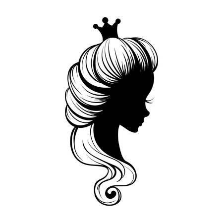 Princess portrait silhouette Vectores