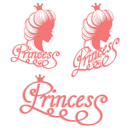 princess: Princess silhouette and lettering Illustration