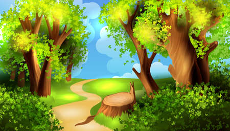 forest landscape: Cartoon forest background