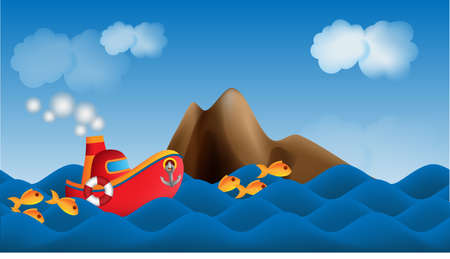Parallax cartoon ship in the sea background