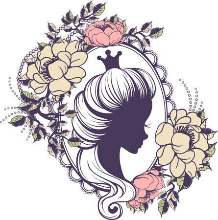 queen silhouette: Princess portrait in floral frame