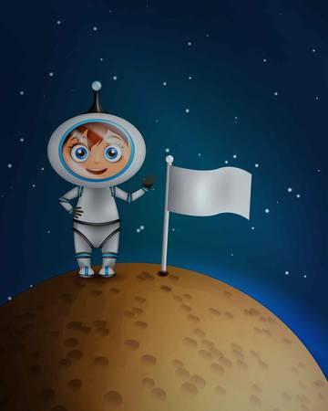 star cartoon: Astronauta en traje espacial de pie sobre la superficie del planeta con la bandera