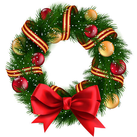 christmas illustration: Christmas Wreath with ribbons, balls and bow isolated