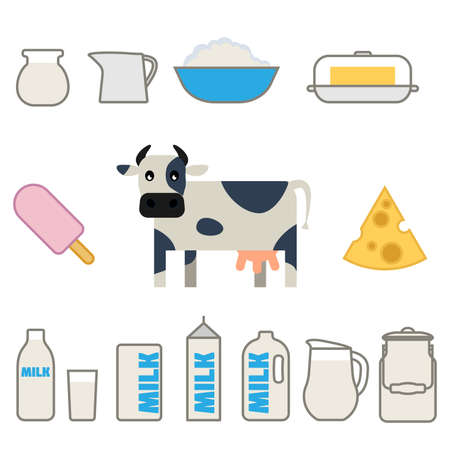 milk products: Flat style milk products set Illustration