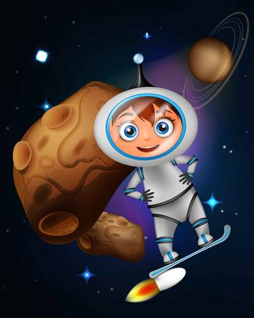 asteroid: Cute cartoon astronaut surfing on jet board in front of asteroid
