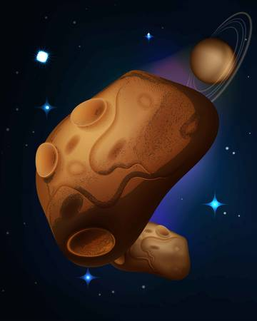 drifting: Asteroids drifting in space vector illustration