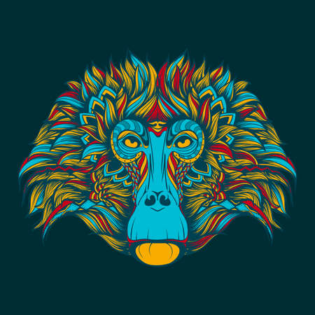 baboon: Colorful baboon monkey face doodle