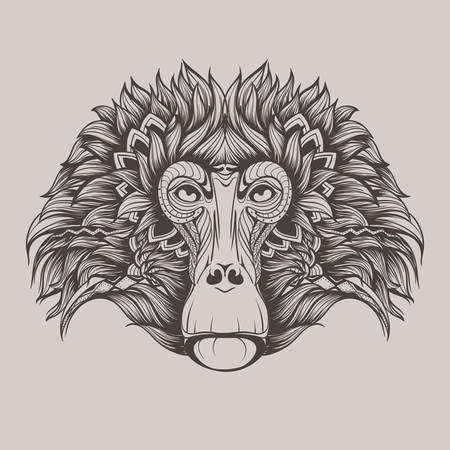 baboon: Baboon monkey face doodle Illustration