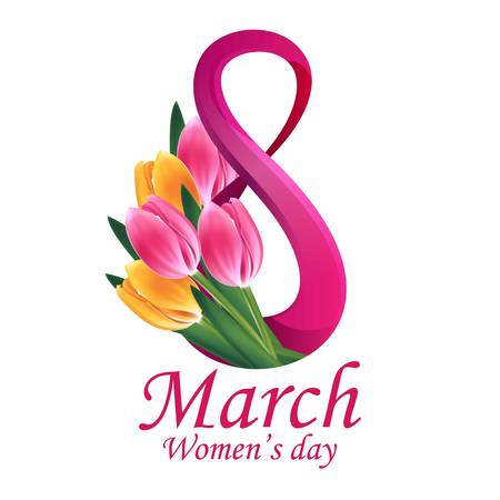 8 March Women's Day greeting card template Ilustração
