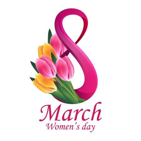 tulipan: Dzień Szablon życzeniami 8 marca damska