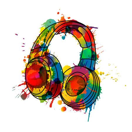 headphone: Headphones made of colorful splashes