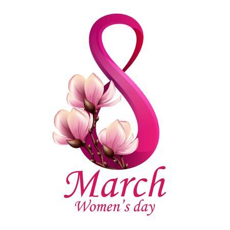 3 月 8 日女性の日グリーティング カード テンプレート  イラスト・ベクター素材