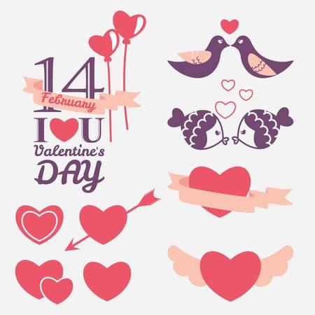 14 february: 14 February Valentines day design elements set Illustration