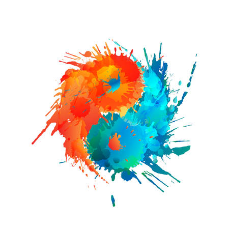 Yin and Yang made of colorful splashes 일러스트