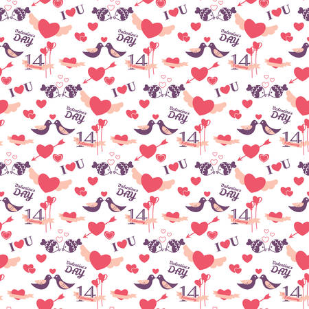 14 of february: 14 February Valentines day seamless pattern