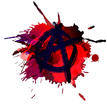anarchism: Anarchy sign on the grunge splashes background