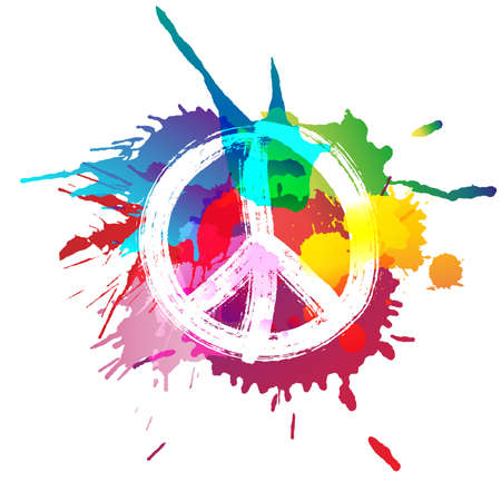 Peace sign in front of colorful splashes Stock Illustratie