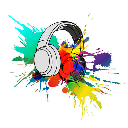 Headphones with colorful splashes Çizim