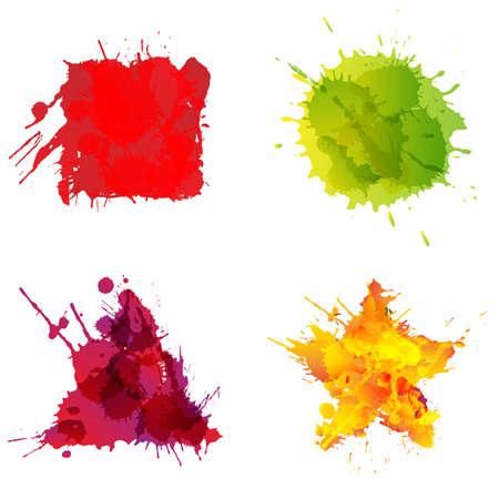 basic shapes: Basic geometric shapes made of colorful splashes