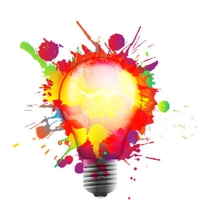 Light bulb made of colorful grunge splashes. Creativity concept Çizim