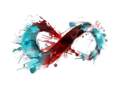 Infinity symbool gemaakt van kleurrijke grunge spatten Stock Illustratie