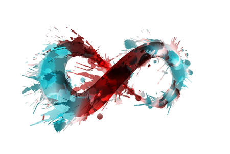Infinity symbol made of colorful grunge splashes Vectores