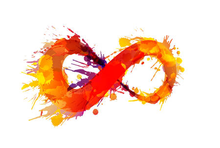infinity icon: Infinity symbol made of colorful grunge splashes Illustration