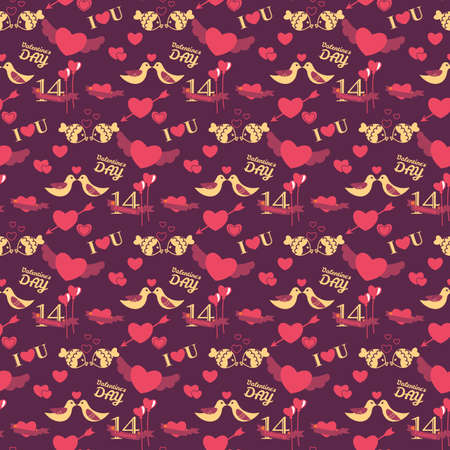 14: 14 February Valentines day seamless pattern
